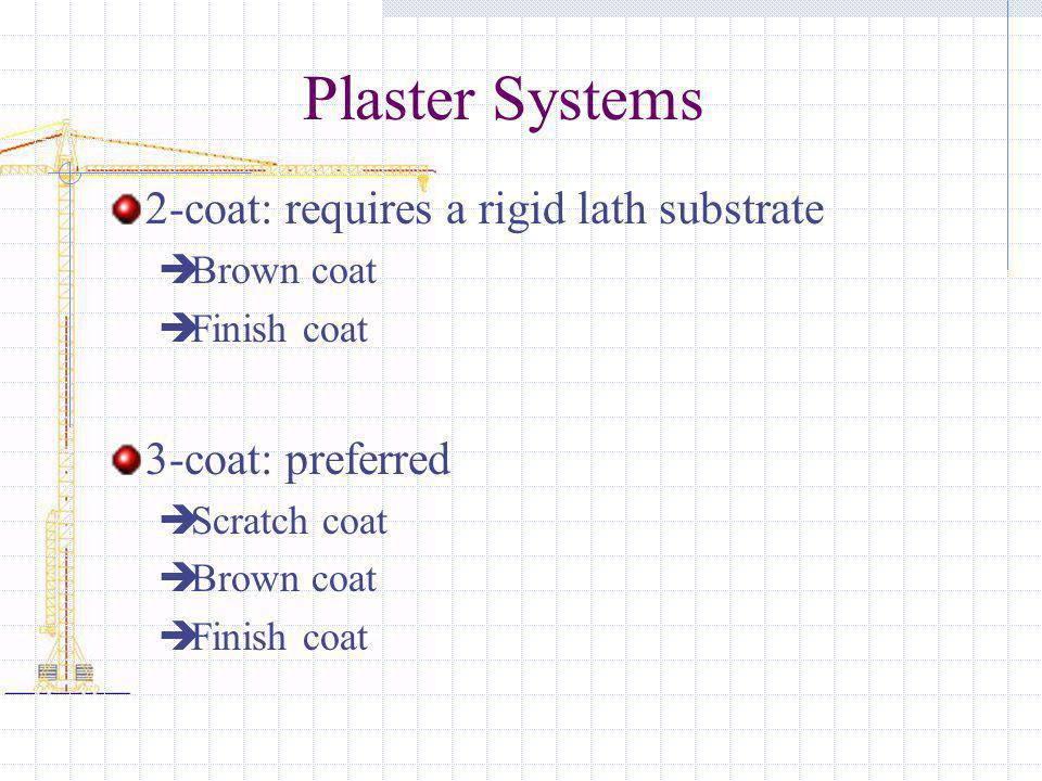 Plaster Systems 2-coat: requires a rigid lath substrate