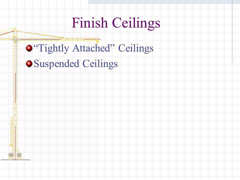 Finish Ceilings Tightly Attached Ceilings Suspended Ceilings
