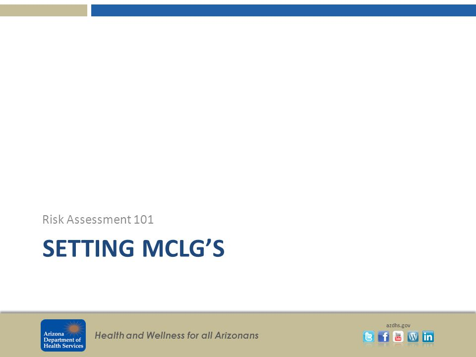 Risk Assessment 101 Setting MCLG's