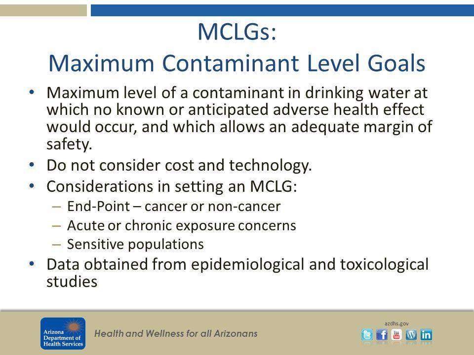 MCLGs: Maximum Contaminant Level Goals