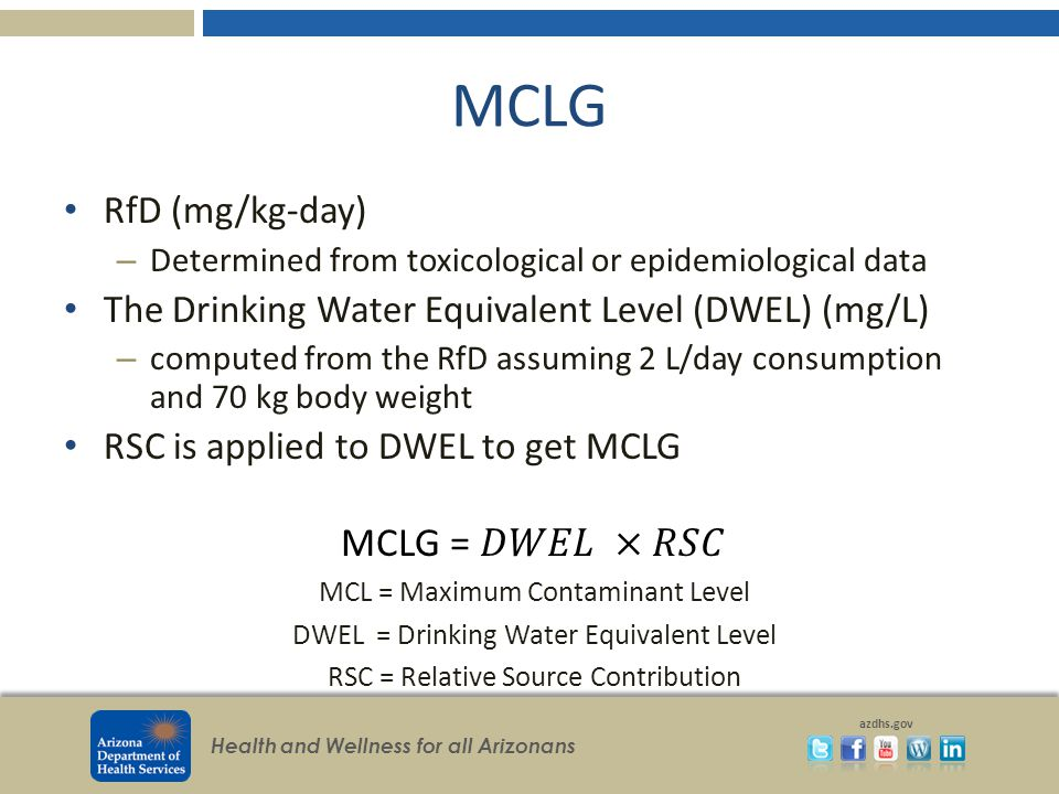 MCLG MCLG = 𝐷𝑊𝐸𝐿 ×𝑅𝑆𝐶 RfD (mg/kg-day)