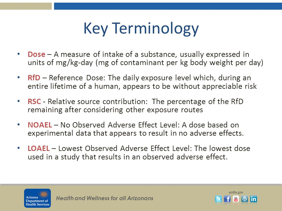 Key Terminology Dose – A measure of intake of a substance, usually expressed in units of mg/kg-day (mg of contaminant per kg body weight per day)