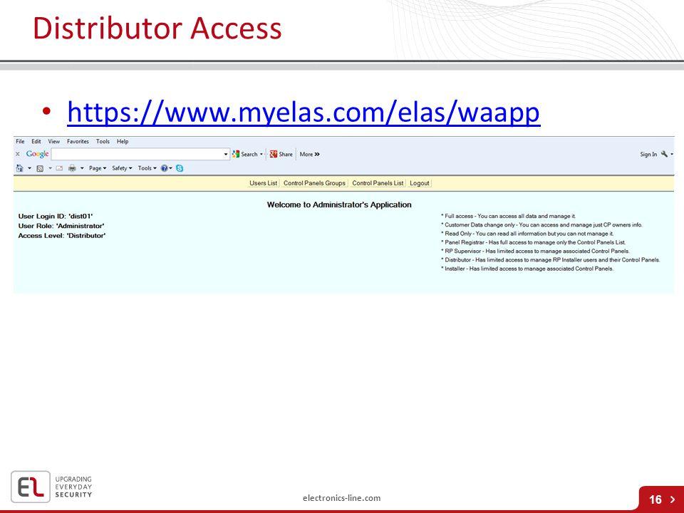 Distributor Access https://www.myelas.com/elas/waapp