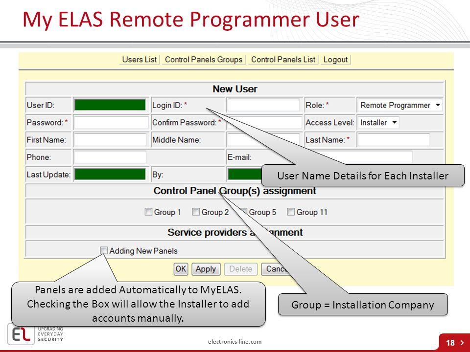My ELAS Remote Programmer User