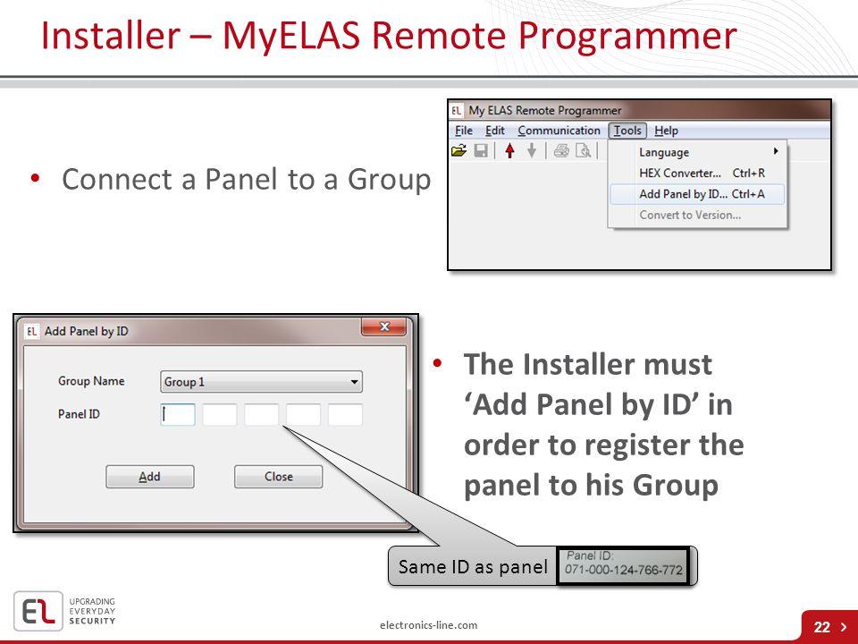 Installer – MyELAS Remote Programmer