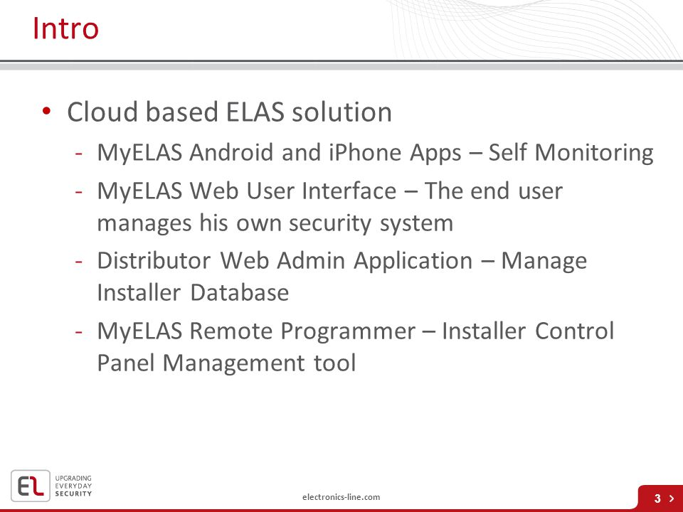 Intro Cloud based ELAS solution