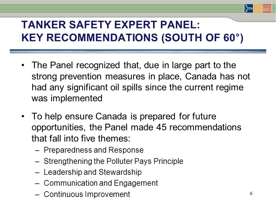 TANKER SAFETY EXPERT PANEL: Key recommendations (South of 60°)