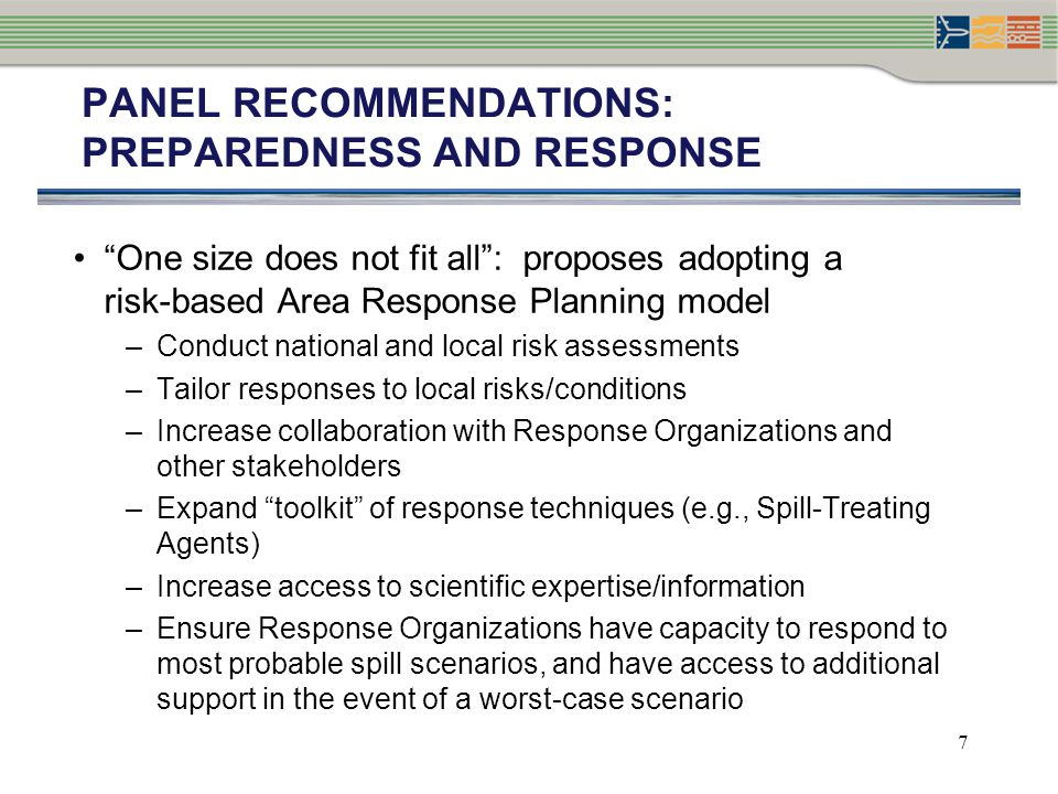 PANEL RECOMMENDATIONS: Preparedness and response