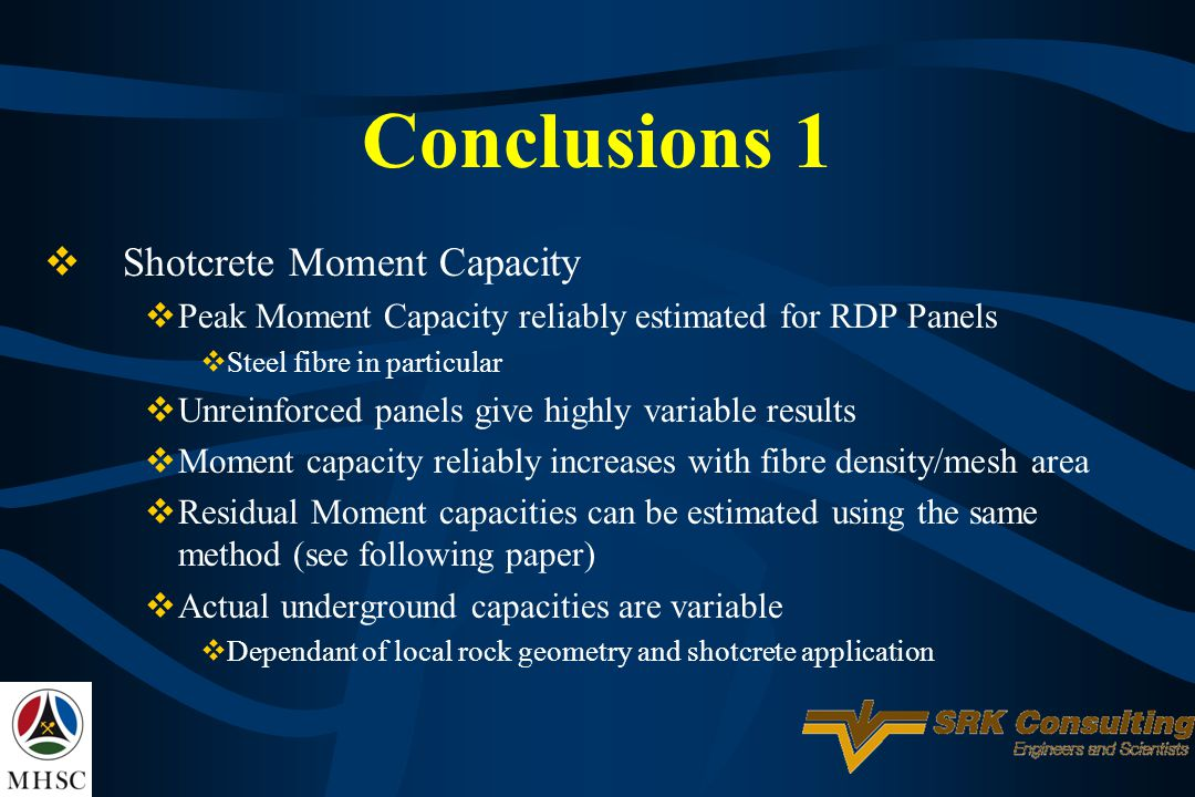 Conclusions 1 Shotcrete Moment Capacity