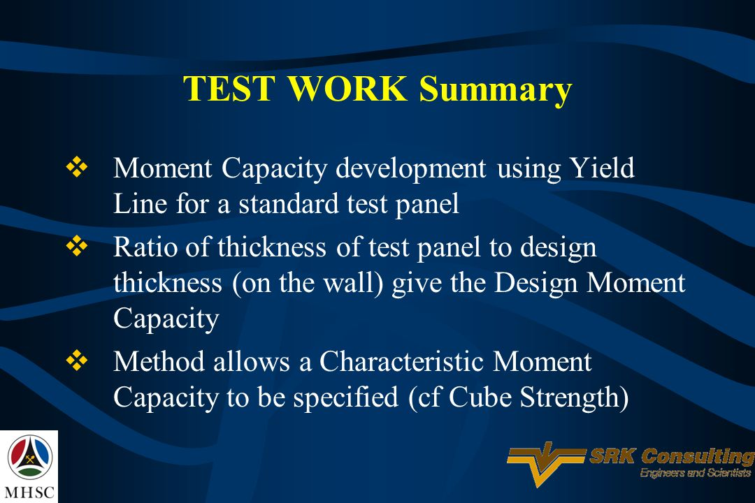 TEST WORK Summary Moment Capacity development using Yield Line for a standard test panel.