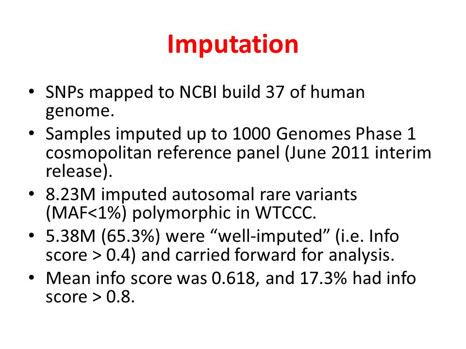 Imputation SNPs mapped to NCBI build 37 of human genome.