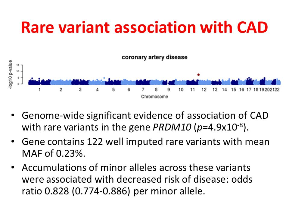 Rare variant association with CAD