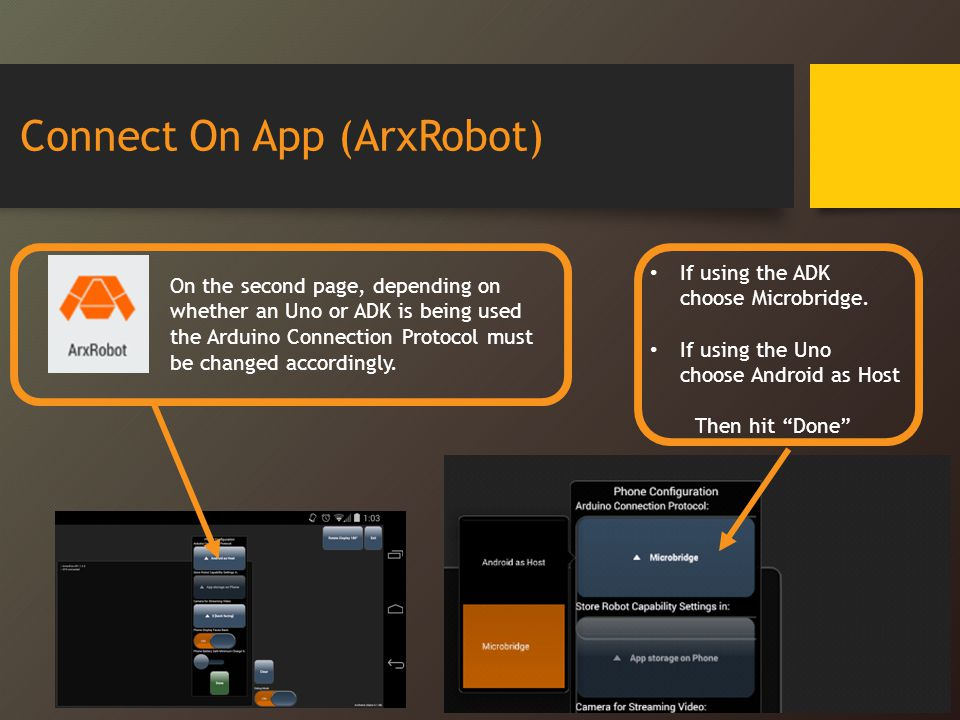 Connect On App (ArxRobot)