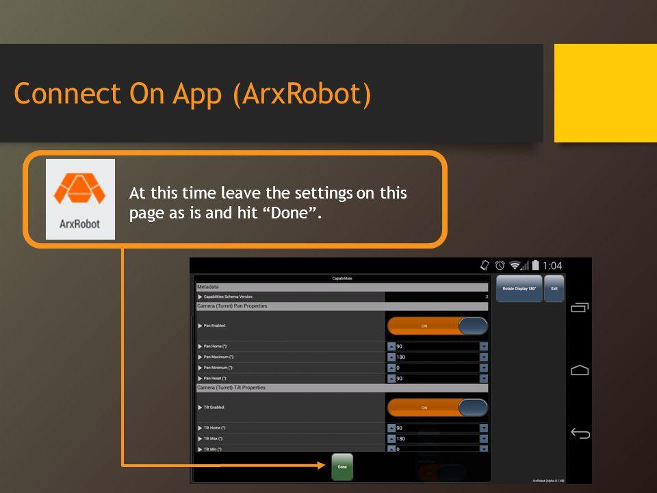 Connect On App (ArxRobot)