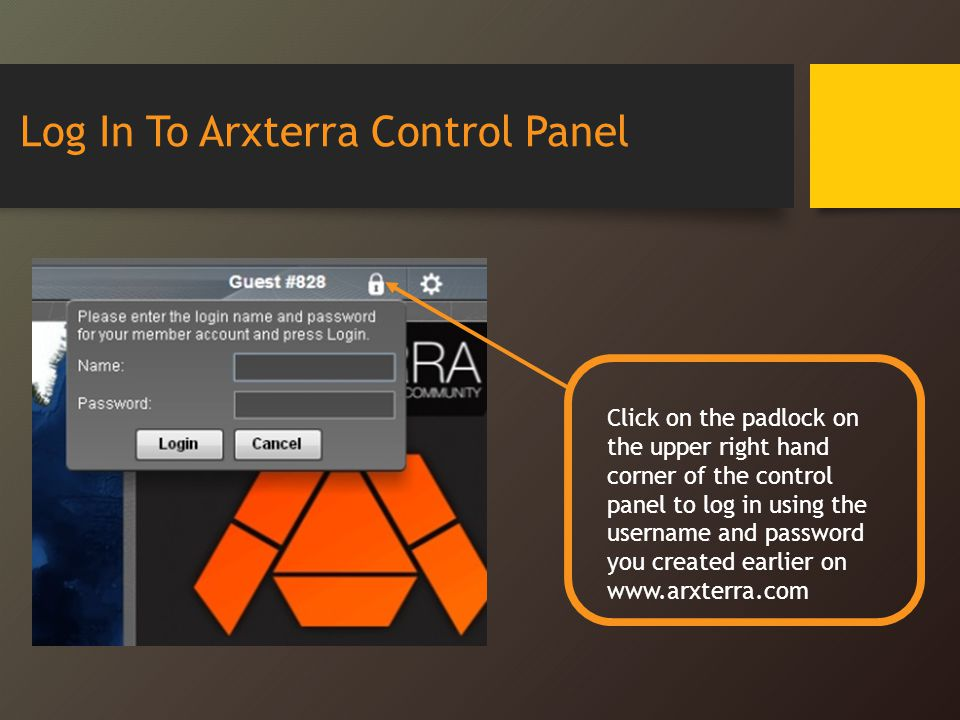 Log In To Arxterra Control Panel