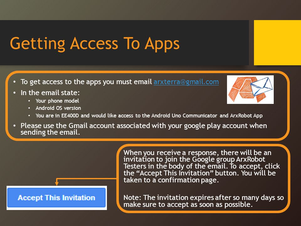 Getting Access To Apps To get access to the apps you must email arxterra@gmail.com. In the email state: