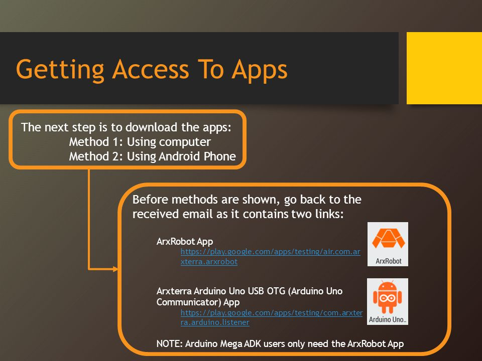 Getting Access To Apps The next step is to download the apps: