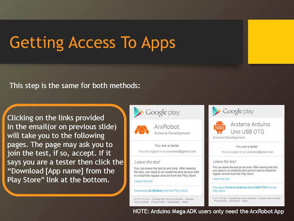 Getting Access To Apps This step is the same for both methods: