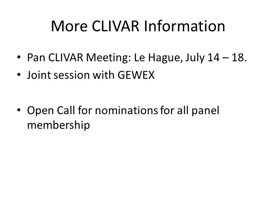 More CLIVAR Information