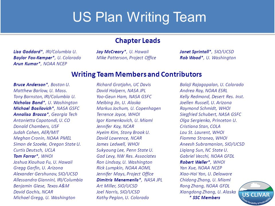 US Plan Writing Team Chapter Leads