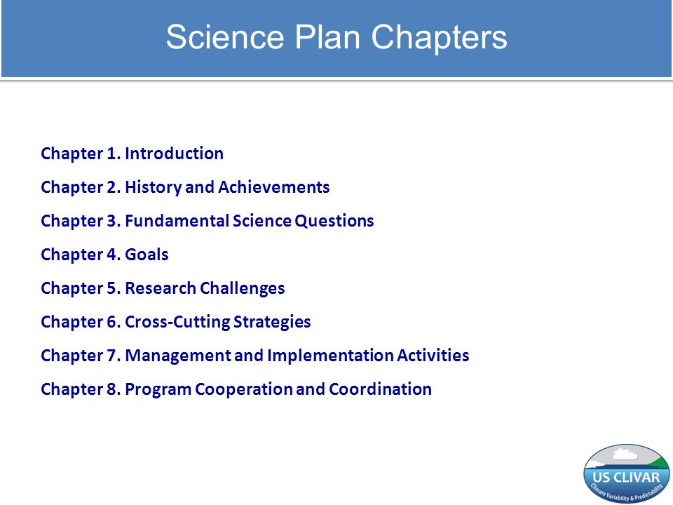 Science Plan Chapters Chapter 1. Introduction