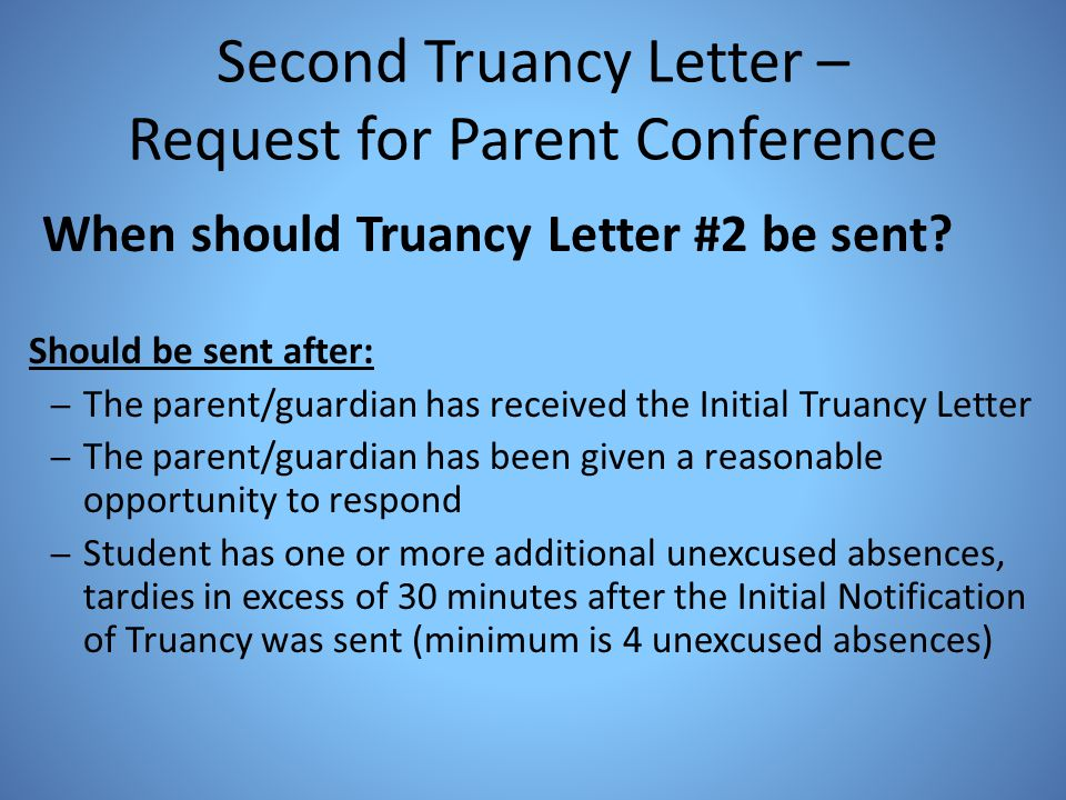 Second Truancy Letter – Request for Parent Conference