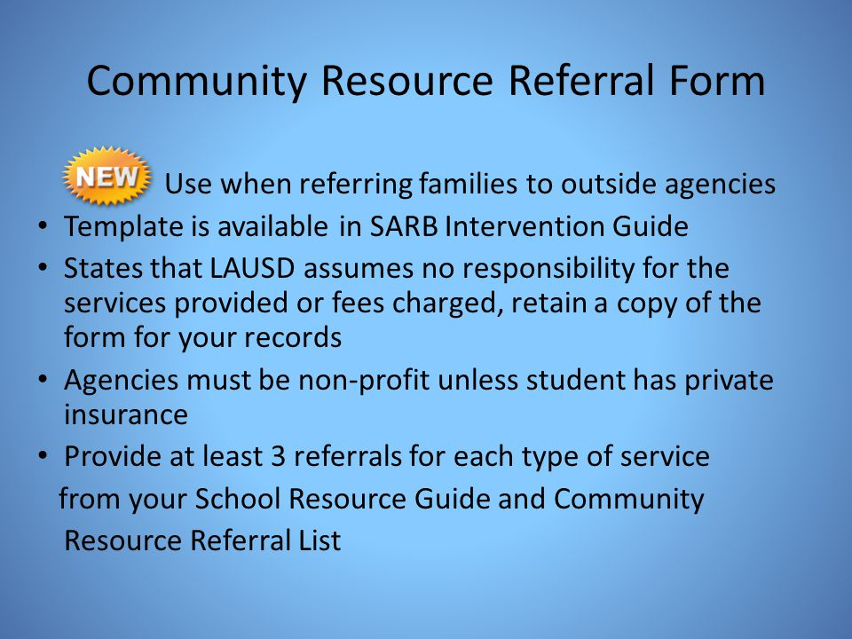 Community Resource Referral Form