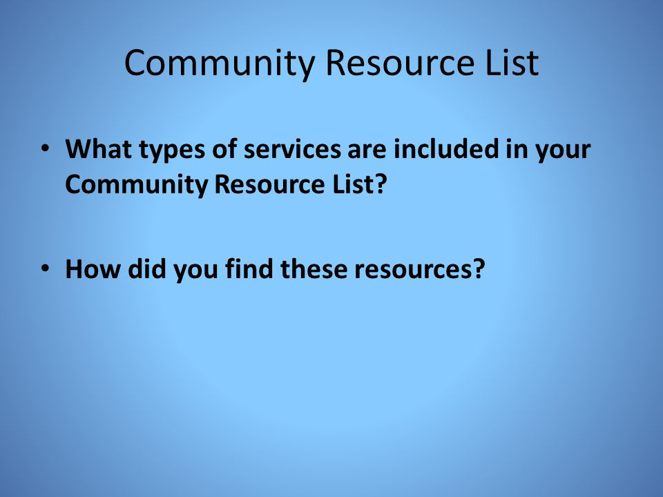 Community Resource List