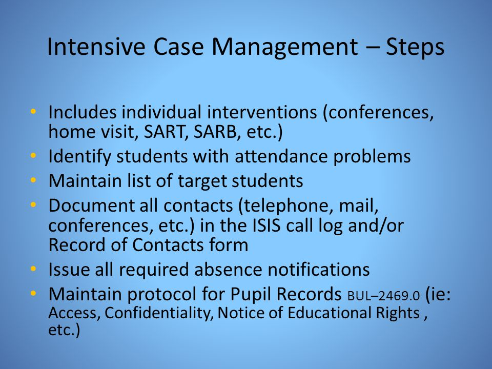 Intensive Case Management – Steps