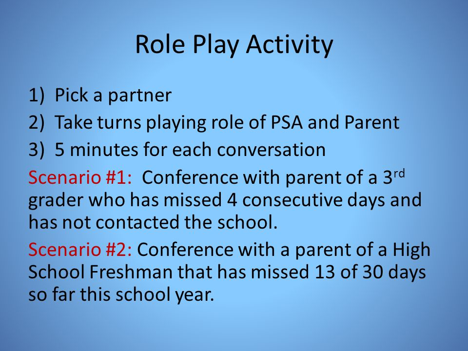 Role Play Activity Pick a partner