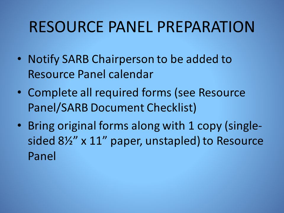RESOURCE PANEL PREPARATION