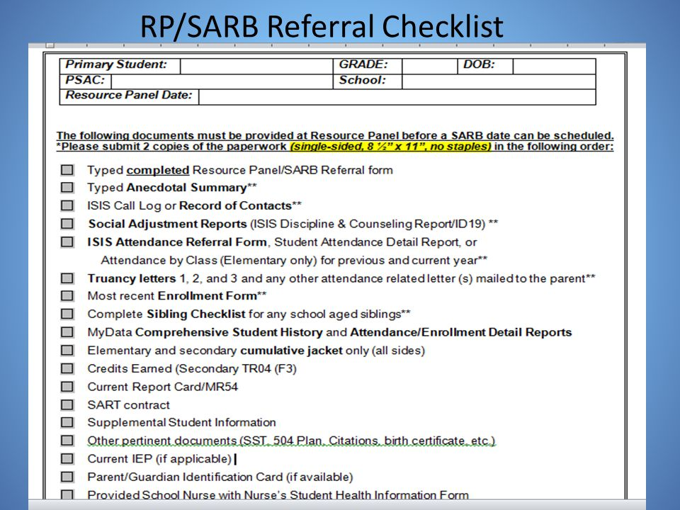 RP/SARB Referral Checklist