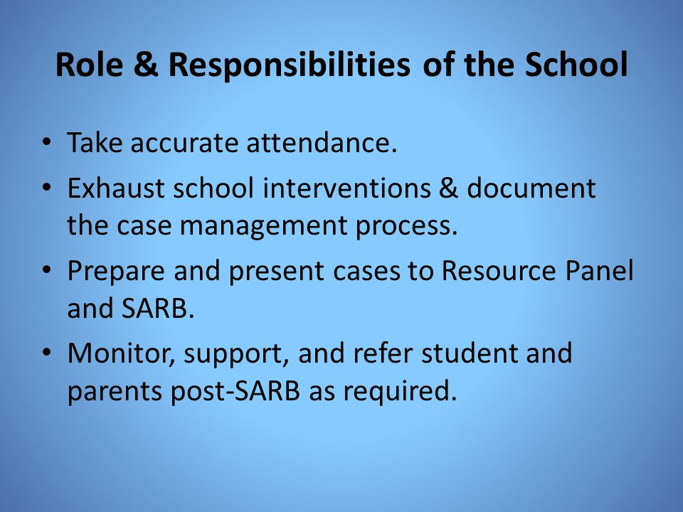 Role & Responsibilities of the School