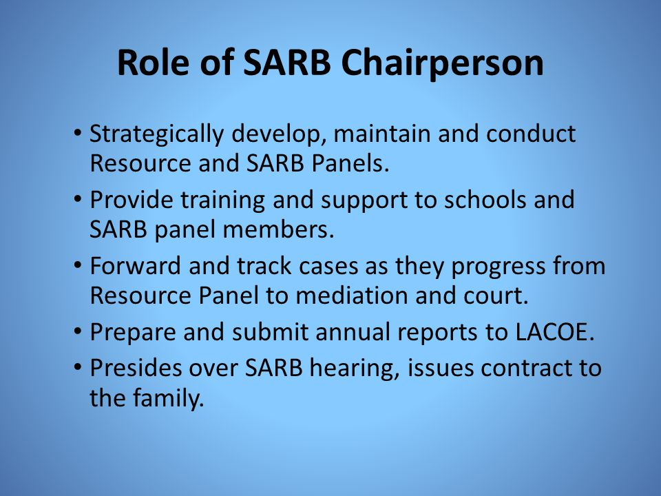 Role of SARB Chairperson