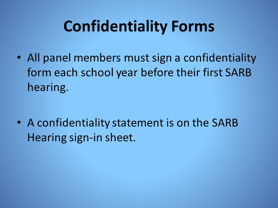 Confidentiality Forms