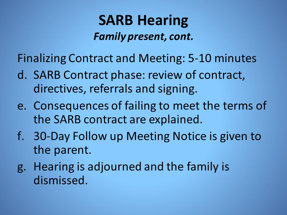 SARB Hearing Family present, cont.
