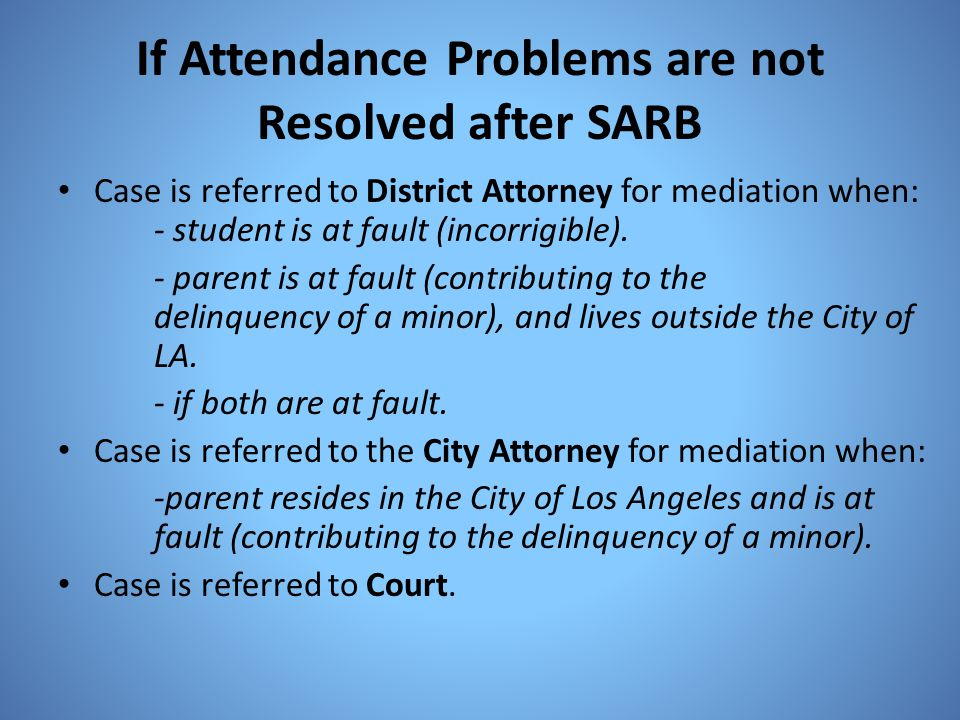 If Attendance Problems are not Resolved after SARB