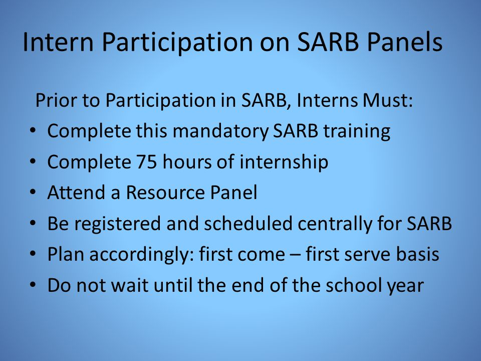 Intern Participation on SARB Panels