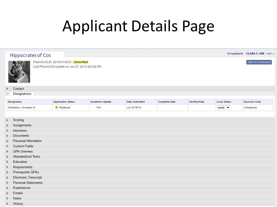 Applicant Details Page