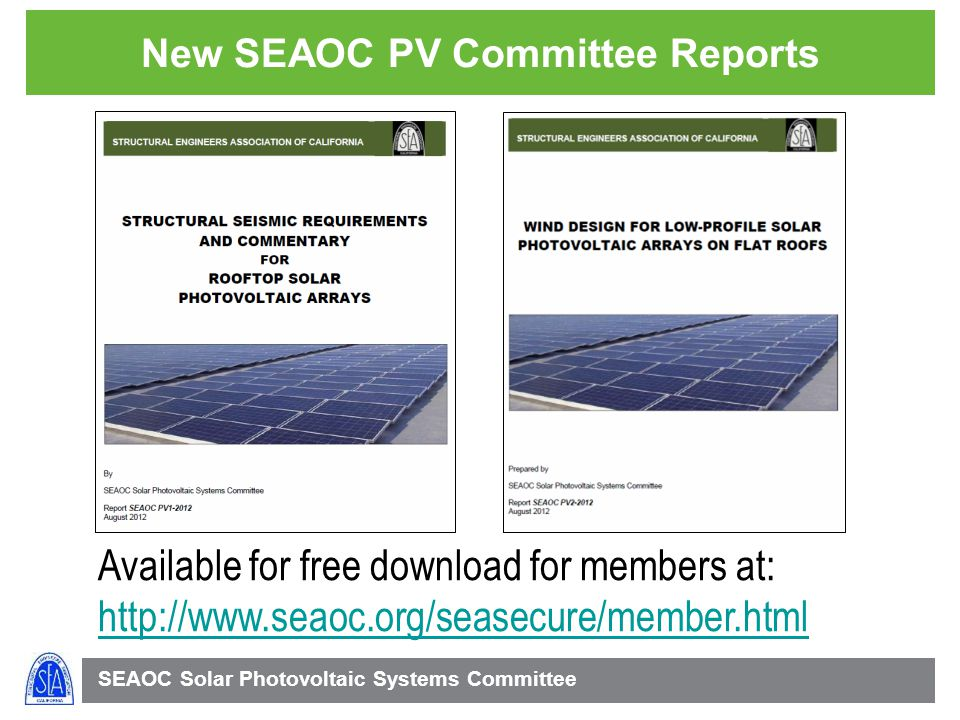 New SEAOC PV Committee Reports