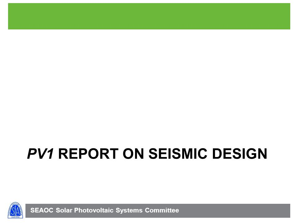 PV1 report on seismic design