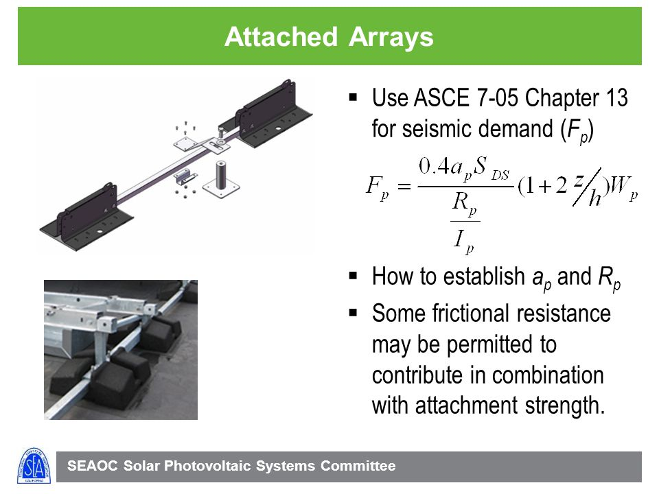Attached Arrays Use ASCE 7-05 Chapter 13 for seismic demand (Fp)