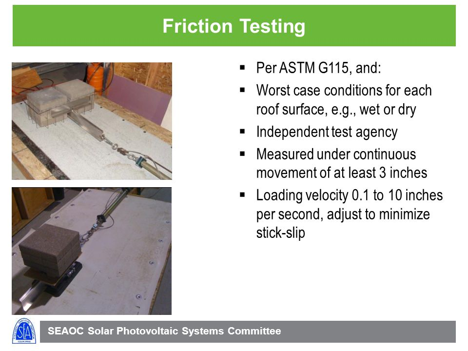 Friction Testing Per ASTM G115, and: