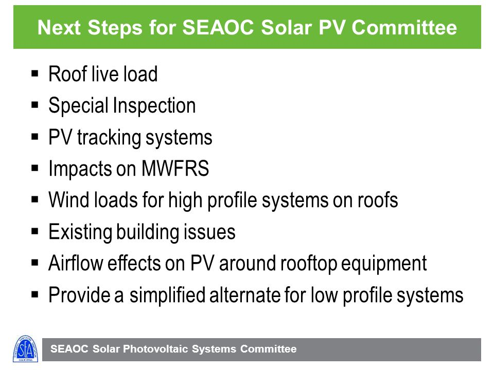 Next Steps for SEAOC Solar PV Committee