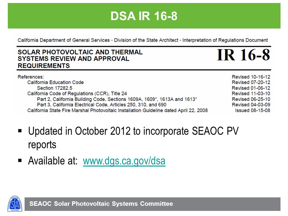DSA IR 16-8 Updated in October 2012 to incorporate SEAOC PV reports
