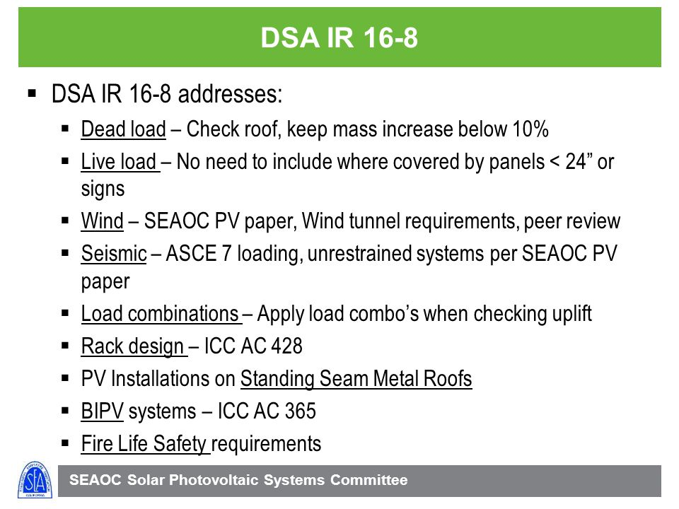 DSA IR 16-8 DSA IR 16-8 addresses: