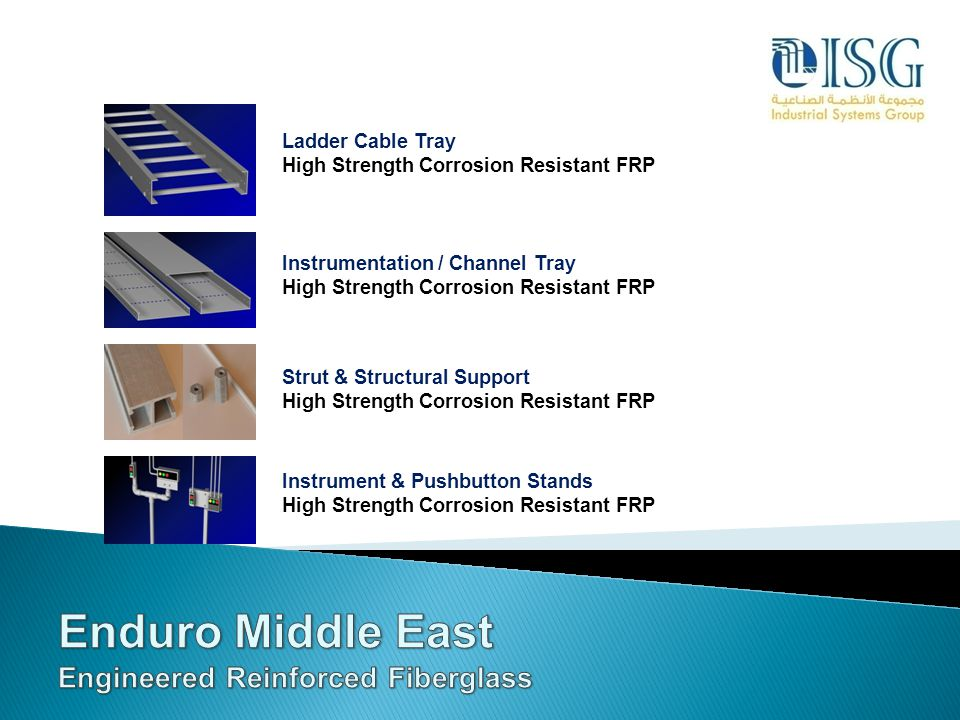 Enduro Middle East Engineered Reinforced Fiberglass Ladder Cable Tray