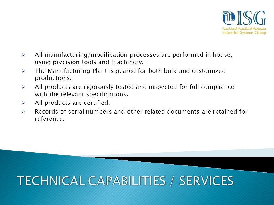 TECHNICAL CAPABILITIES / SERVICES