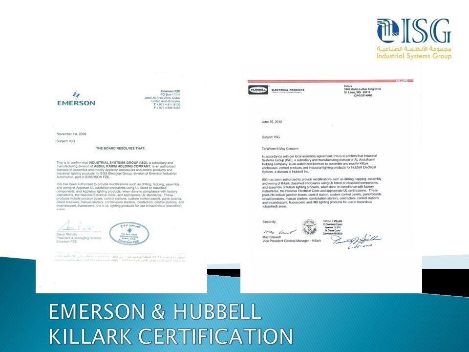 EMERSON & HUBBELL KILLARK CERTIFICATION