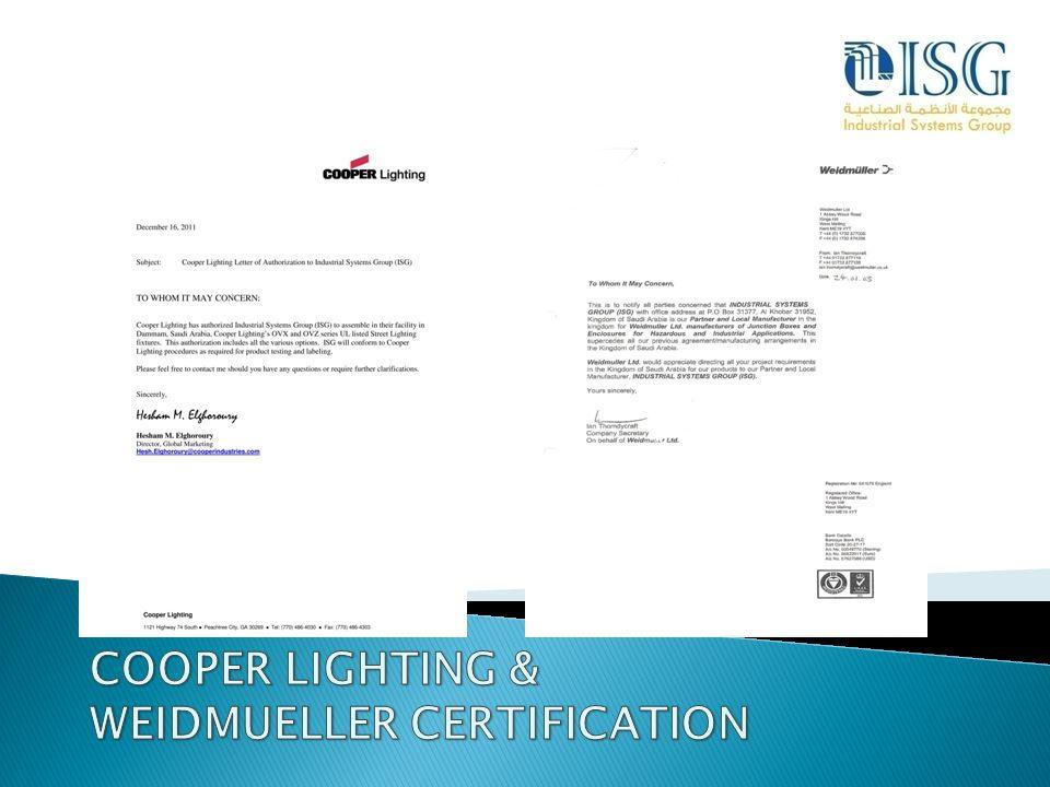 COOPER LIGHTING & WEIDMUELLER CERTIFICATION